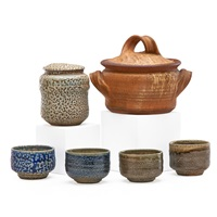 four sake cups and two covered vessels (6 works) by karen karnes