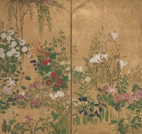 flowers of the four seasons (2 works) by japanese school-rimpa (19)