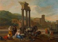marktszene in südlicher ruinenlandschaft by hendrick mommers