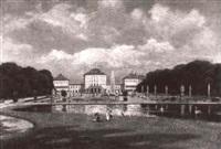 schloss nymphenburg, von der parkseite aus gesehen by eduard haaga