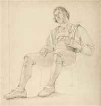 sitzender bursche in ländlicher tracht (+ 2 others; 3 works, various sizes) by eduard merk