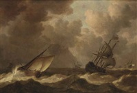 an english man-of-war before the wind and a close hauled hoeker, as a storm approaches by pieter mulier the elder