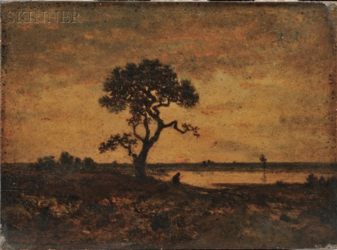 twilight landscape with tree and figure at a pond by théodore rousseau