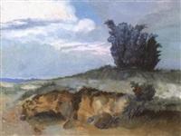 dünenlandschaft mit heide und wacholder by ernst müller-scheessel