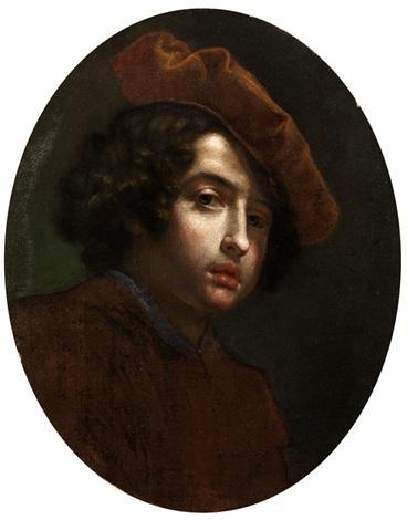 bildnis eines jungen mannes mit rot braunem barett by cesare dandini