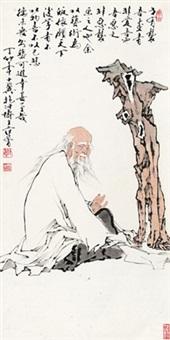 老者 镜心 设色纸本 (painted in 1987 old man) by fan zeng