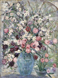 floral still life with tulips and flowering branches by dorothea m. litzinger