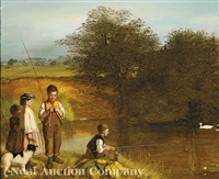 children fishing by charles hunt