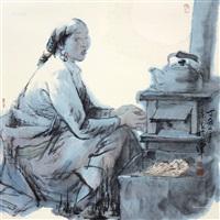 人物 托片 设色纸本 by xu zhan
