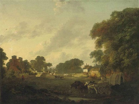 a rural landscape with villagers in horse drawn carts and farm animals by julius caesar ibbetson