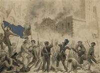 des révolutionnaires combattant devant le palais royal, le 24 février 1848 by guillaume-alphonse (harang) cabasson