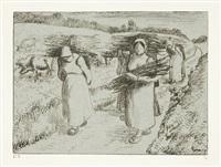 paysannes portant des fagots by camille pissarro