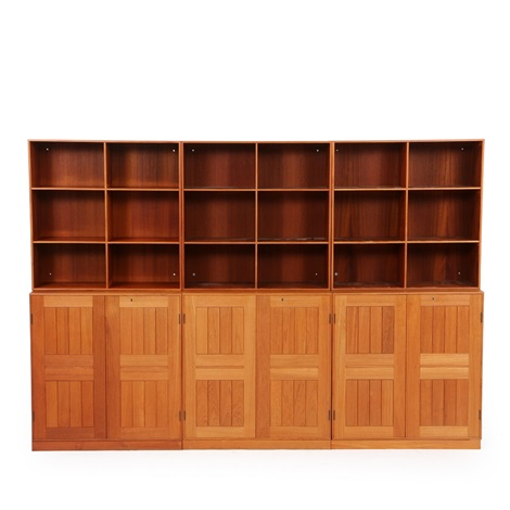 Wall Unit Of Teak, Consisting Of Three Cabinets, Three Bookcases And Three  Matching Plinths
