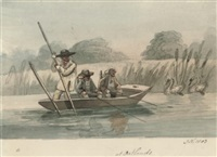 fishermen in a punt at oatlands by john nixon