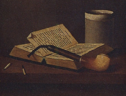still life of a pipe book and cup by maurice a waas