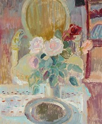 still life with louis xvi chair and roses in a vase by viggo rorup