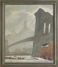 winter cityscape of a new york city bridge by bela de tirefort