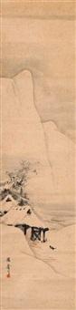 schneelandschaft mit bauernhaus und zwei krähen by takuda rinsai