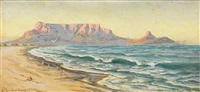 evening glow, table mountain by edward clark churchill mace