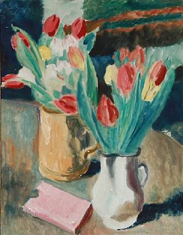 two vases with tulips by sigurd swane