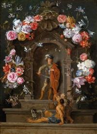 eine blumengeschmückte kartusche mit einer darstellung des heiligen martin, der seinen mantel teilt by jan brueghel the younger