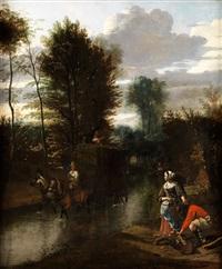junges paar am ufer eines flusses, durch den ein von pferden gezogener heuwaagen fährt by jan siberechts