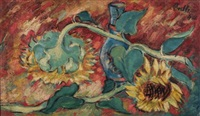 SUN FLOWERS signed and dated 44 oil on..., 1944