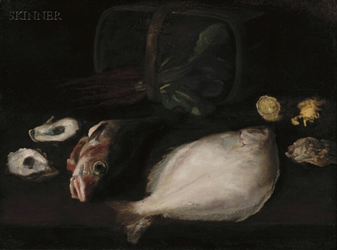 still life with fish and oysters by william merritt chase