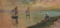 bretonne devant la mer le retour des bateaux by jean bertrand pegot-ogier