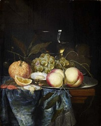 a still life of assorted fruit, oysters and a wine glass on a ledge by pieter de ring