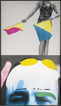raised eyebrows/furrowed foreheads: woman (with semaphore flags) by john baldessari