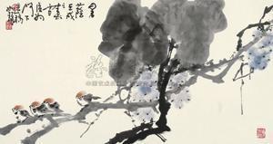 暑荫 (birds and grapes) by cui ruzhuo