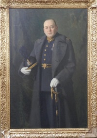 portrait an officer standing three-quarter length in a greatcoat and holding a helmet and sword by cowan dobson