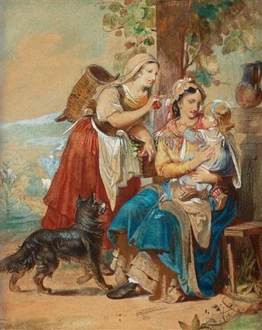 italiensk kvinna lekandes med ett barn by giacinto gigante