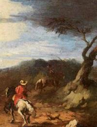 scena di caccia (+ cavalieri in un paesaggio; pair) by pandolfo reschi