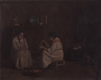 two women in an interior by r. valdés