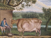 a farmer feeding his prize bull with a mangelwurlitzer by thomas weaver