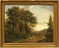 horseman and figures with dog on a country lane by charles towne