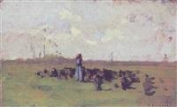 hyrdinde med sine dyr på marken by oreste silvestri