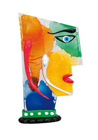 a high quality glass sculpture face by mario badioli
