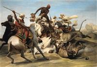 la chasse au lion dans le désert (after horace vernet) by jean-pierre-marie jazet
