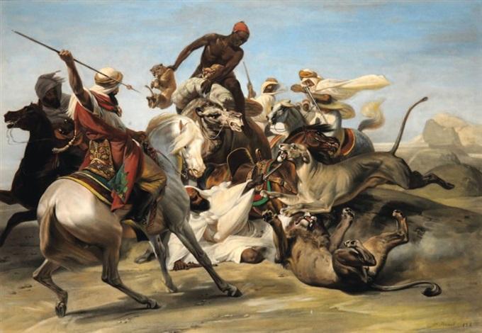 la chasse au lion dans le désert after horace vernet by jean pierre marie jazet