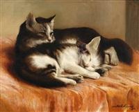 deux chatons sur un couvre-lit by joseph schippers