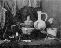 nature morte - objets divers sur une table by alcide-francisque aubertier