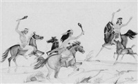 three mounted zuni warriors hunting by percy tsiste sandy
