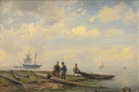 fisherman coming ashore by hermanus koekkoek the elder