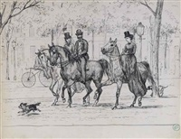 two elegant ladies and a gentleman on horseback (+ 3 others; 4 works) by willem de famars testas