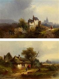 zwei gemälde: landschaften mit gehöften (pair) by heinrich hiller