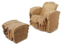 sherman chair (+ ottoman; 2 works) by frank gehry