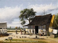 cabin scene in georgia with cotton pickers in the field by william aiken walker